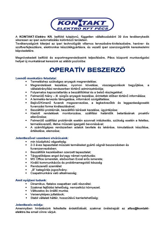 álláshirdetés Operativ beszerző