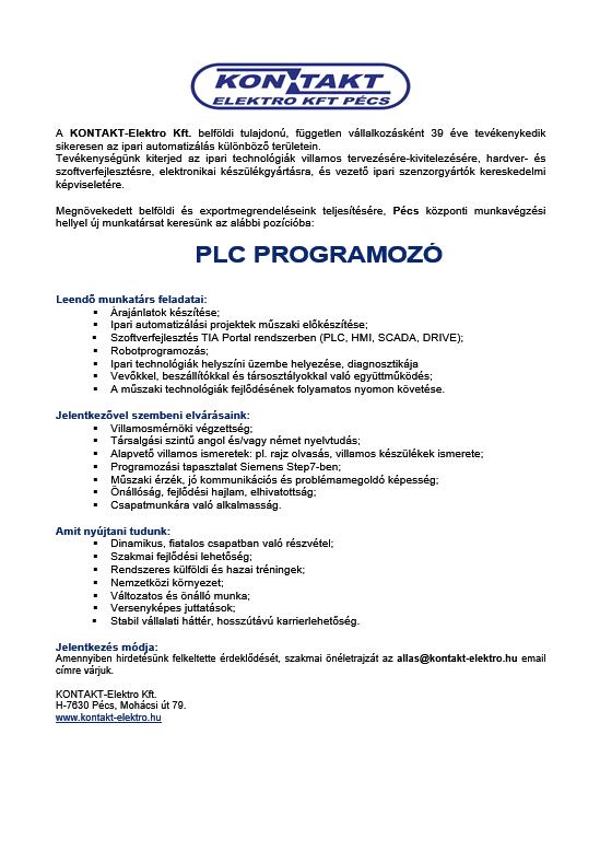 álláshirdetés PLC programozó