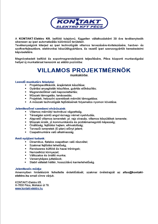 álláshirdetés Villamos projektrmérnök