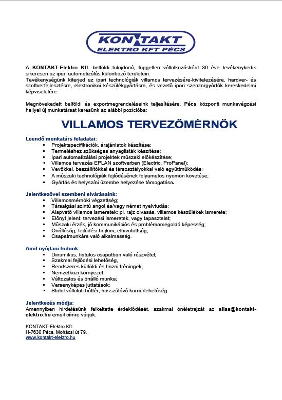 álláshirdetés Villamos tervezőmérnök